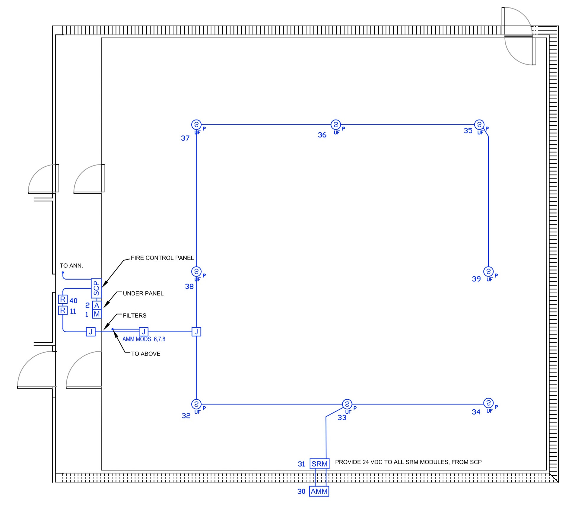 Widar Fire Protection Wiring Diagram In Addition Patch Panel Em Inc Drawing Showing Correlator Room Below Floor Electrical Layout Part Of Fm200 0574b03 Fa03