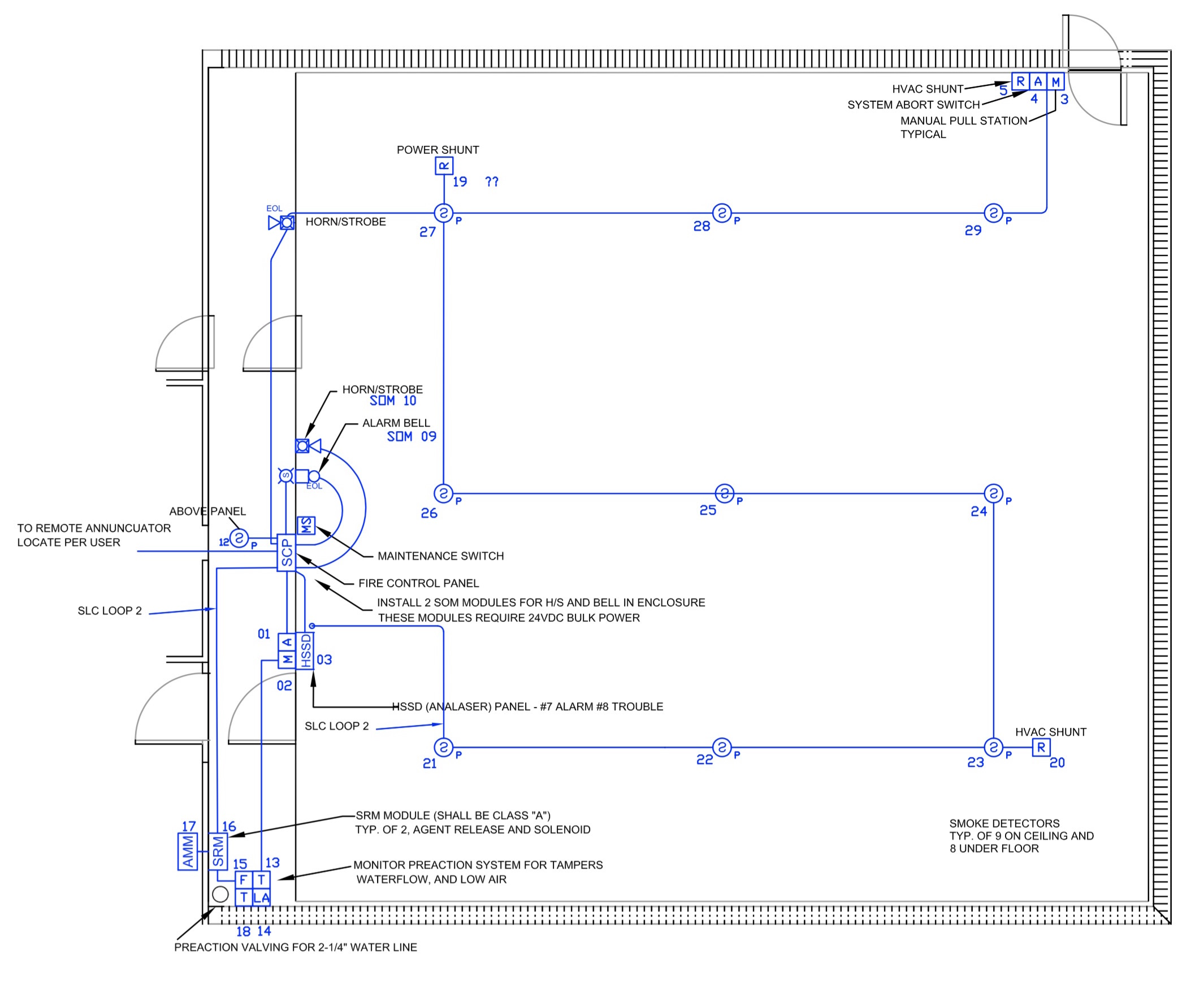 e&m inc  drawing showing correlator room above floor electrical layout  (part of: e&m fm200-0574b03 fa03)